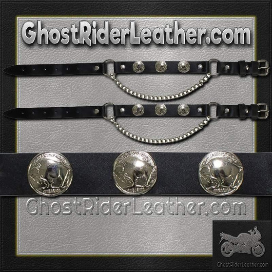 Pair of Biker Boot Chains - Buffalo Nickel - SKU GRL-BC2-DL