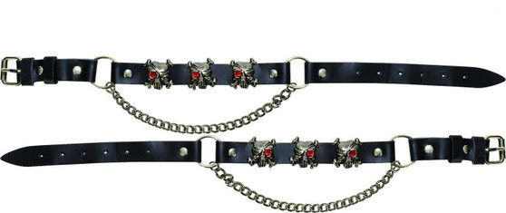 Pair of Biker Boot Chains - Pirate Skull - SKU GRL-BC14-DL