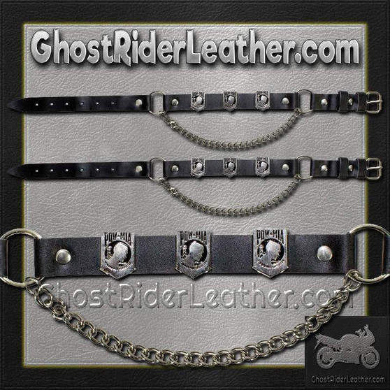 Pair of Biker Boot Chains - POW MIA - SKU GRL-BC11-DL