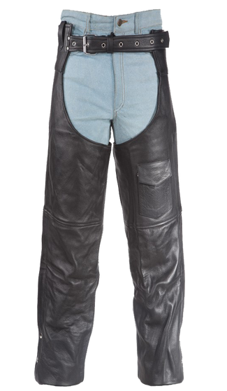 Plain Motorcycle Leather Chaps for Men or Women - SKU C325-04-DL