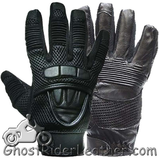 Premium Leather Motorcycle Gloves with Double Knuckle -SKU GLZ41-DL
