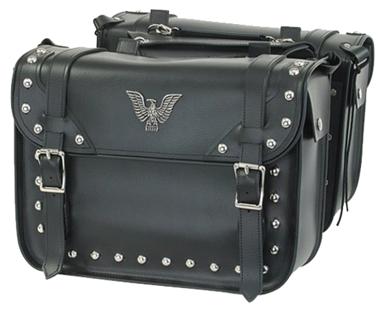 PVC Motorcycle Studded Saddlebags with Eagle - Motorcycle Storage - SKU SD4076-PV-DL