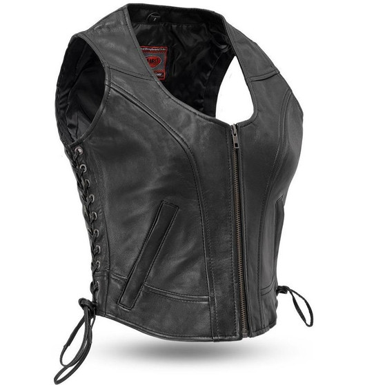 Raven - Leather Women's Zipper Vest With Side Laces - SKU FIL542GDD-FM