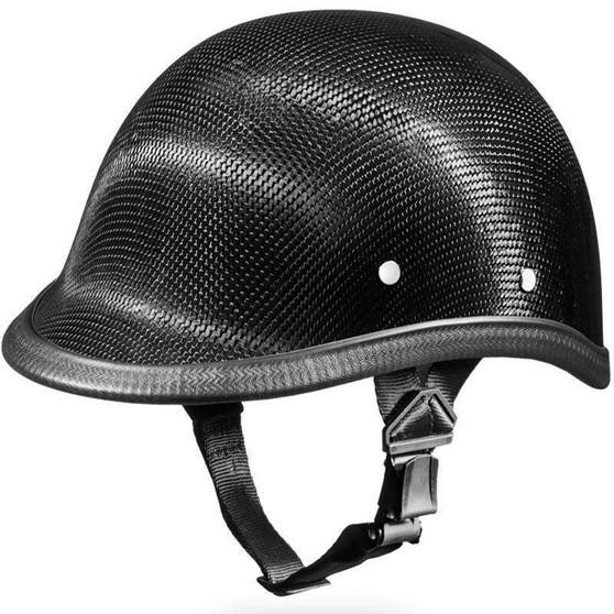 Real Carbon Fiber Jockey Polo Style Novelty Motorcycle Helmet - SKU 2003G-DH