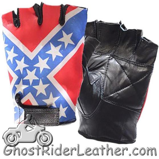 Rebel Flag Fingerless Biker Leather Motorcycle Gloves - SKU GRL-GL2038-DL