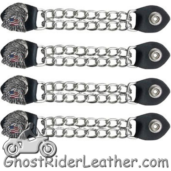 Set of Four Eagle With USA Flag Vest Extenders with Chrome Chain - SKU GRL-AC1083-DL
