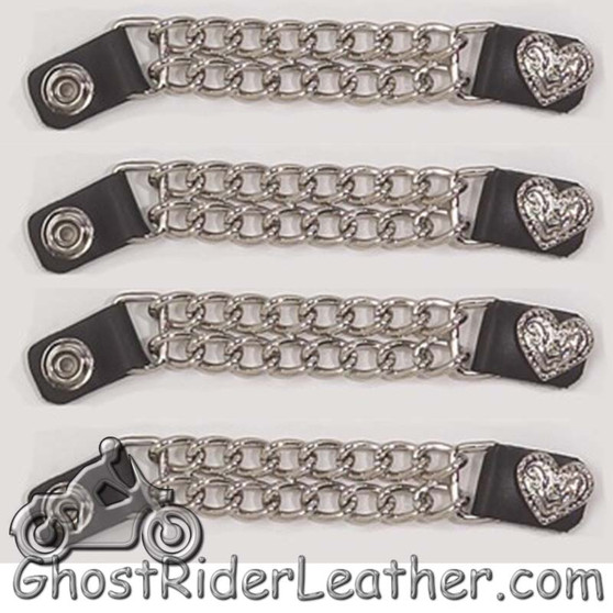 Set of Four Fancy Heart Vest Extenders with Chrome Chain - SKU GRL-AC1078-DL