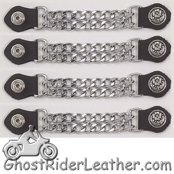 Set of Four Flower and Petals Vest Extenders with Chrome Chain - SKU GRL-AC1076-DL