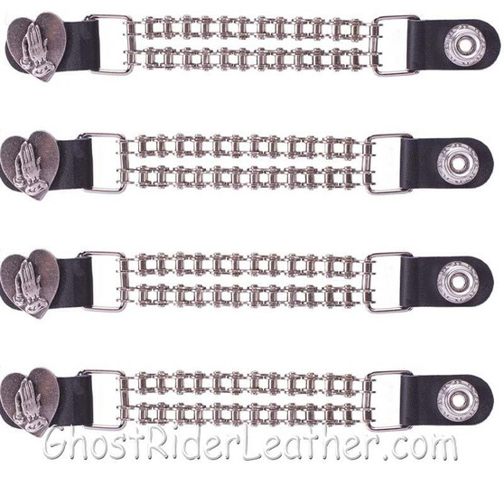 Set of Four Praying Hands Inside Heart Vest Extenders with Chrome Motorcycle Chain / SKU GRL-AC1062-BC-DL