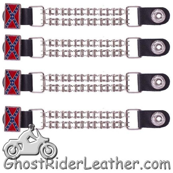 Set of Four Rebel Flag Vest Extenders with Bike Chain Design - SKU GRL-AC1057-BC-DL