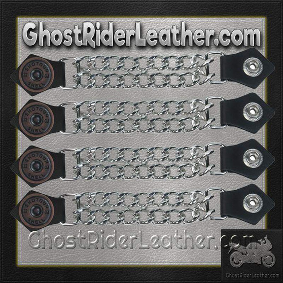 Set of Four Shotgun Shell Vest Extenders with Chrome Chain / SKU GRL-AC1045-DL