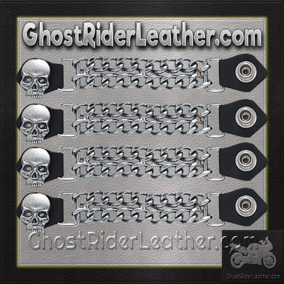 Set of Four Skull Vest Extenders with Chrome Chain / SKU GRL-AC1064-DL