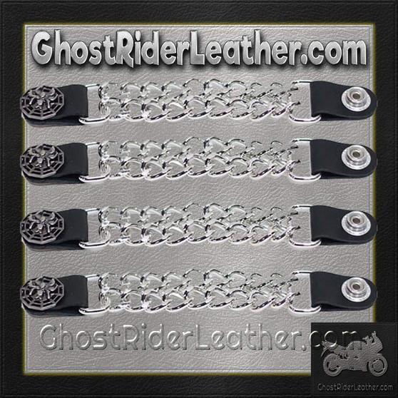Set of Four Spider On Web Vest Extenders with Chrome Chain / SKU GRL-AC1077-DL