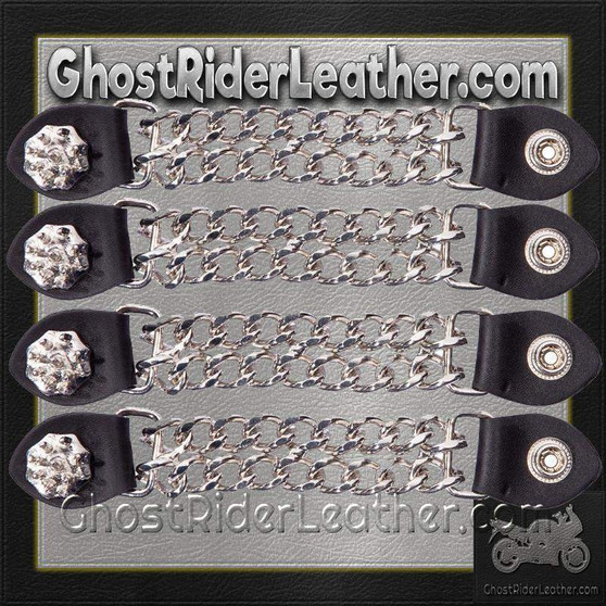 Set of Four Spike Design Vest Extenders with Chrome Chain / SKU GRL-AC1081-DL
