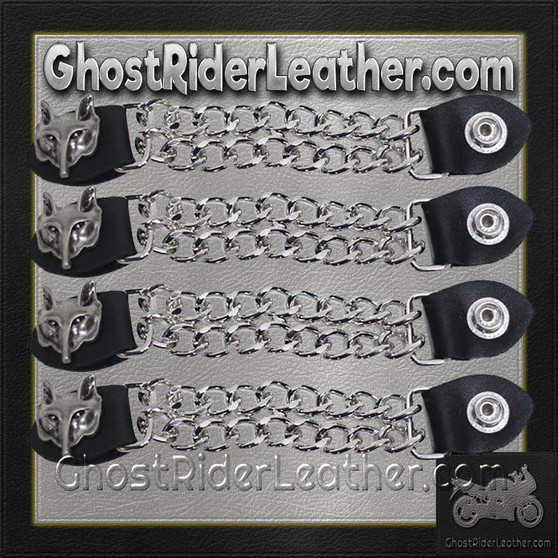 Set of Four Wolf Head Vest Extenders with Chrome Chain / SKU GRL-AC1067-DL