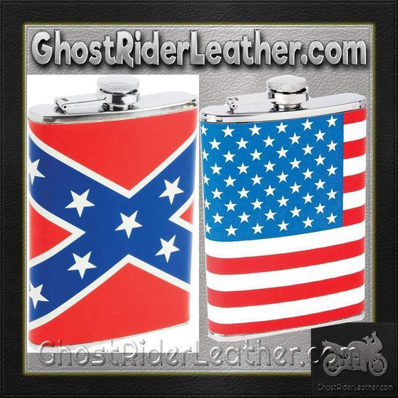Set of Two Flasks / American Flag and Rebel Flag Flasks / SKU GRL-KTFLKFLG-KTFLKRBL-BN