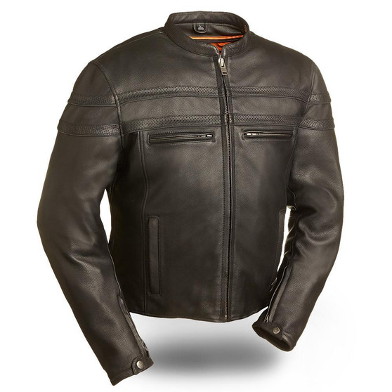 Stakes Racer - Men's Motorcycle Leather Jacket - SKU GRL-FIM226CCBZ-FM