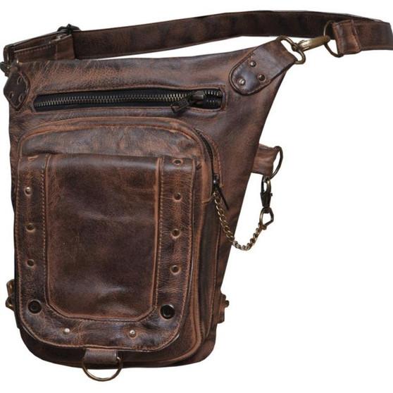 UNIK Ladies Brown Leather Thigh Bags - SKU GRL-5735-TAN-UN