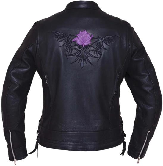 UNIK Ladies Premium Leather Motorcycle Jacket With Purple Embroidered Rose - 6801-17-UN