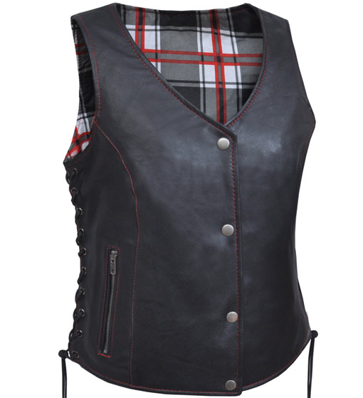 UNIK Ladies Vest with Red & White Flannel Liner - SKU GRL-6895-01-UN
