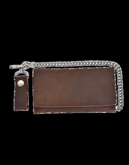 UNIK Brown Leather Biker Chain Wallet - SKU 5708-00-UN