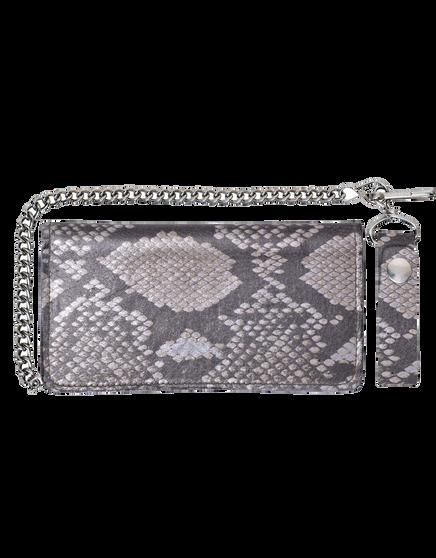 UNIK Leather Biker Chain Wallet With Snake Pattern - SKU 9096-00-UN
