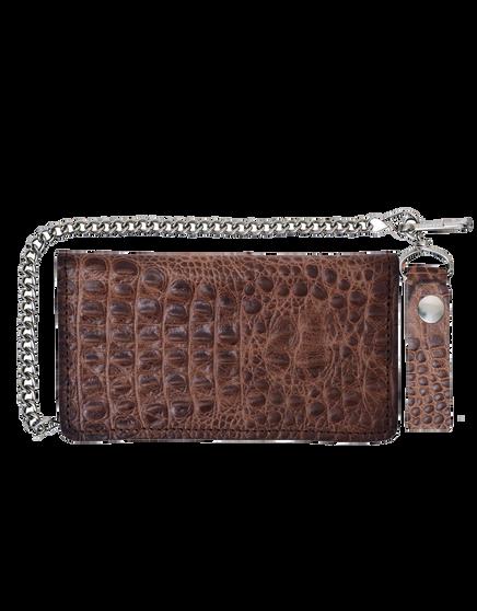 UNIK Brown Leather Biker Chain Wallet With Crocodile Pattern - SKU 9099-00-UN