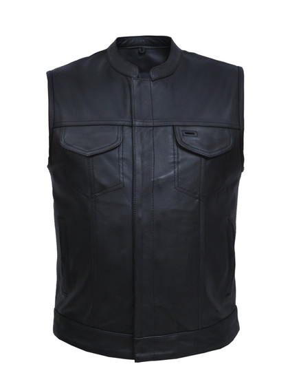 UNIK Men's Biker SOA Style Club Leather Vest - SKU GRL-7402-ZP-BLK-UN