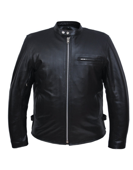 UNIK Men's Classic Leather Motorcycle Sporty Scooter Jacket 3