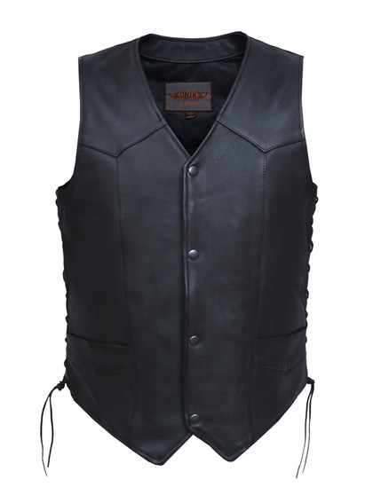 UNIK Men's Ultra Leather Motorcycle Vest - Big and Tall - SKU GRL-331-TL-UN