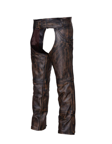 UNIK Unisex Nevada Brown Ultra Leather Chaps - SKU GRL-720-ABR-UN
