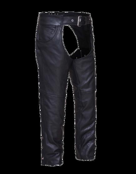 UNIK Unisex Ultra Jean Style Leather Motorcycle Chaps - SKU 720-NK-UN