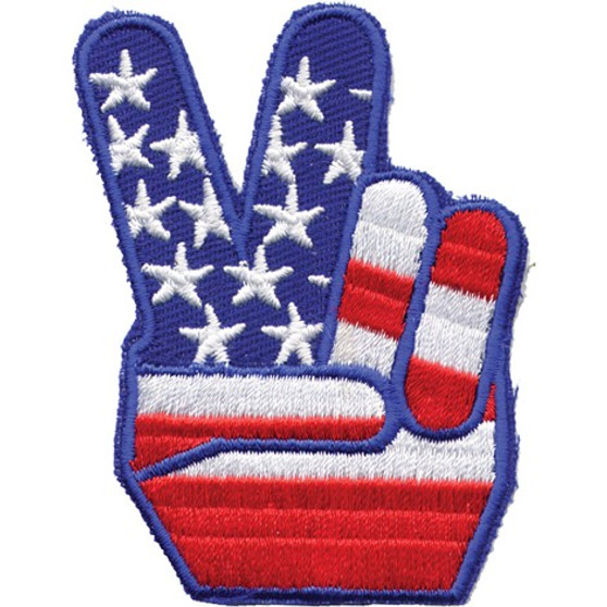 USA Flag Peace Sign Vest Patch - You Get TWO Patches - SKU GRL-PAT-D489-DL