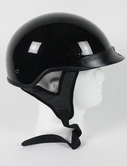 DOT Gloss Black Motorcycle Shorty Helmet - SKU GRL-1GB-HI