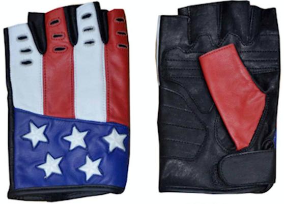 American Flag Riding Gloves - Fingerless Motorcycle Gloves - SKU 8199-USA-UN