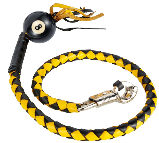 Get Back Whip in Black and Yellow Leather - With 8 Ball - 42 Inches - Motorcycle Accessories - SKU GBW8-BALL8-DL