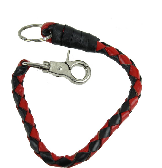 Key Chain - Get Back Whip Style  in Black and Red Leather - 14 Inches Long - SKU KC-GBW6-DL