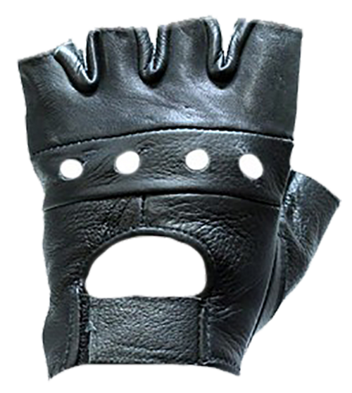 Fingerless Leather Motorcycle Gloves - SKU GL2008-DL