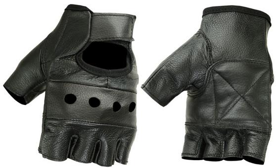 Fingerless Unisex Leather Biker Gloves - SKU DS11-DS