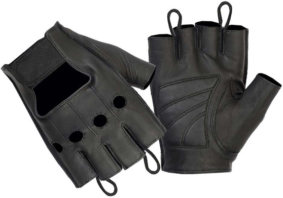Premium Fingerless Unisex Leather Biker Gloves - SKU DS61-DS
