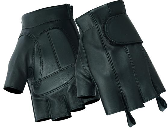 Men's Premium Fingerless Tough Deer Skin Leather Biker Gloves - SKU DS96-DS