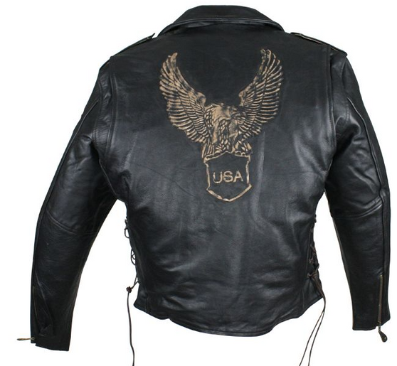 Embossed Retro Black Eagle Motorcycle Jacket with Side Laces and Live To Ride - SKU MJ703-01-NLR-DL
