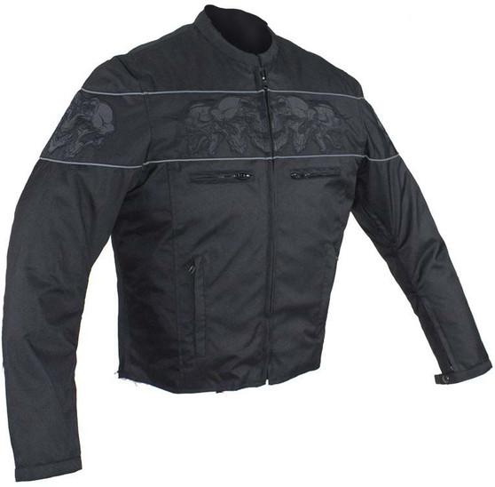 Racer Textile Jacket with Reflective Skulls and Concealed Carry Pocket - SKU MJ825-CC-DL