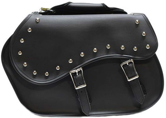 Black PVC Motorcycle Saddlebags with Studs - Motorcycle Luggage - SKU SD4055-PV-DL