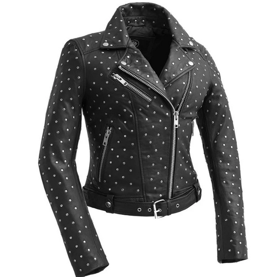 The Claudia - Women's Black Leather Motorcycle Jacket With Handcrafted Studs - SKU WBL1723-FM