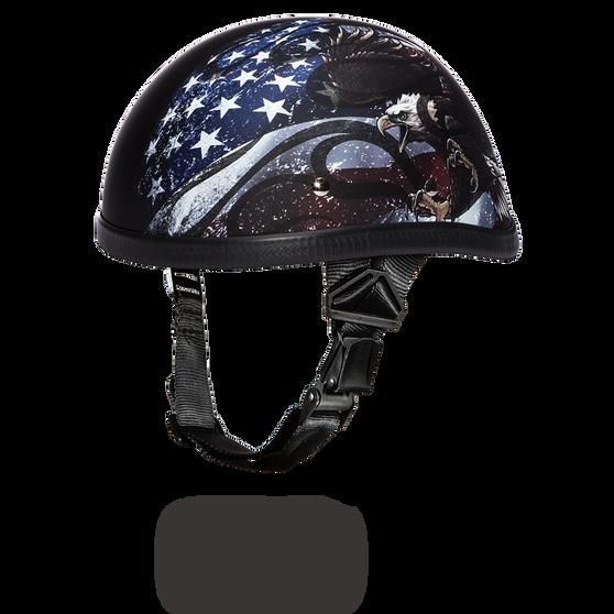 Novelty Flames USA Flag Motorcycle Helmet - Daytona Helmets Eagle Style - SKU 6002USA-DH