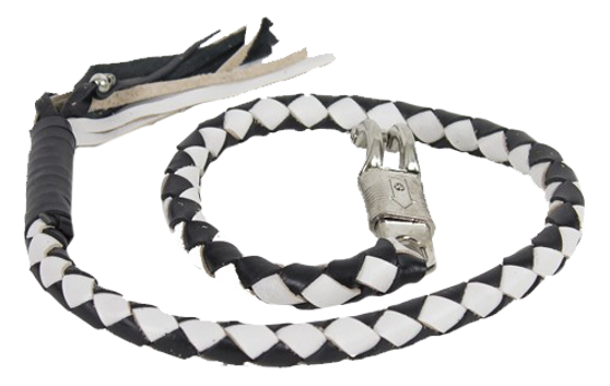 2 Inch Fat Get Back Whip in Black and White Leather - 42 Inches Long - SKU GBW7-11-T1-DL