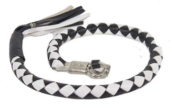 3 Inch Fat Get Back Whip in Black and White Leather - 42 Inches Long - SKU GBW7-11-T2-DL