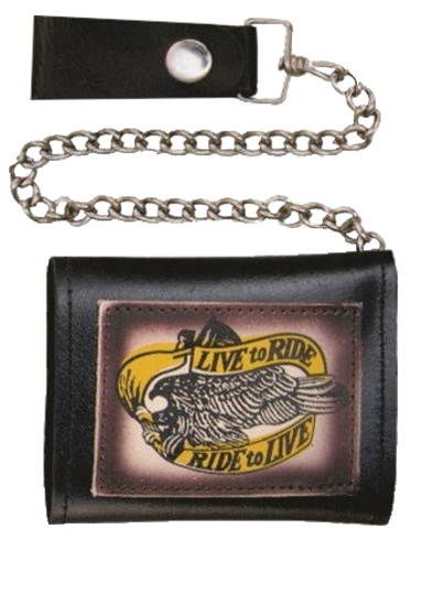 4 inch Black Leather Chain Wallet with Live To Ride - Tri-fold - SKU AL3273-AL