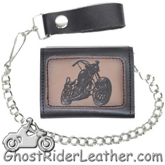 4 inch Motorcycle Leather Chain Wallet - Tri-Fold - Motorcycle Style - SKU AC55-MOTORCYCLE-DL